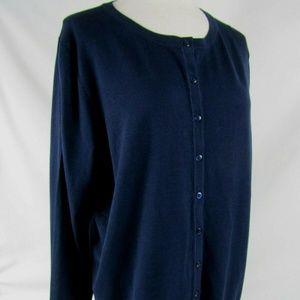 Charter Club Sz 0X L/S Button Front Cardigan Blue